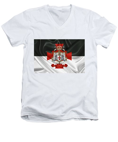 Knights Templar - Coat Of Arms Over Flag Men's V-Neck T-Shirt by Serge Averbukh