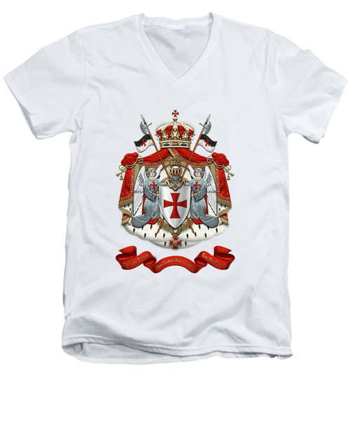 Knights Templar - Coat Of Arms Over White Leather Men's V-Neck T-Shirt by Serge Averbukh