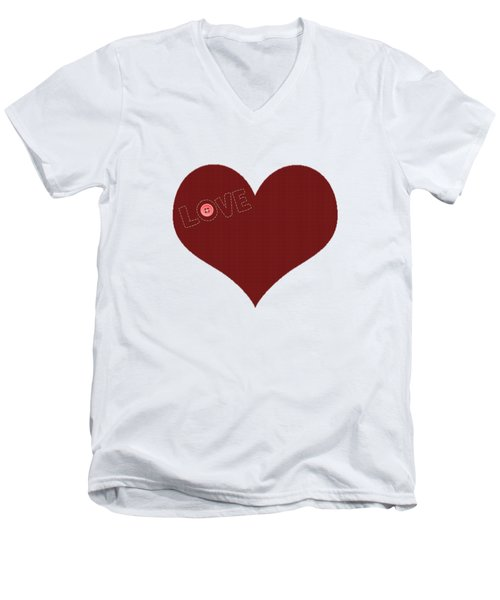 Knitted Heart.png Men's V-Neck T-Shirt