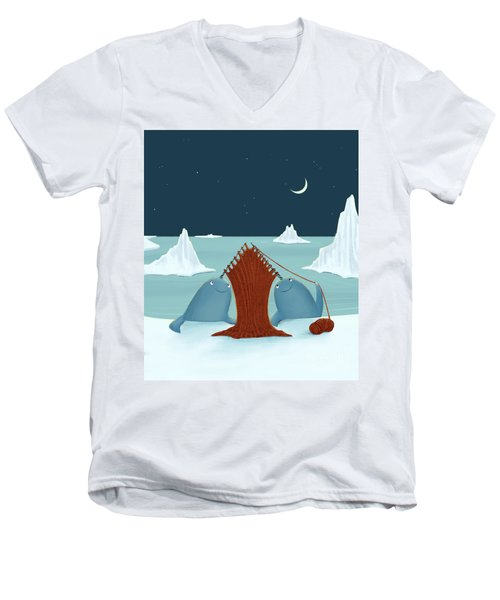 Knitting Narwhals Men's V-Neck T-Shirt