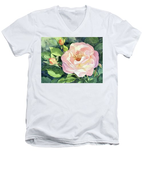 Men's V-Neck T-Shirt featuring the painting Knockout Rose And Buds by Vikki Bouffard