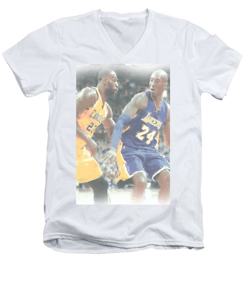 Kobe Bryant Lebron James 2 Men's V-Neck T-Shirt by Joe Hamilton