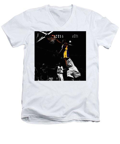 Kobe Bryant On Top Of Dwight Howard Men's V-Neck T-Shirt by Brian Reaves