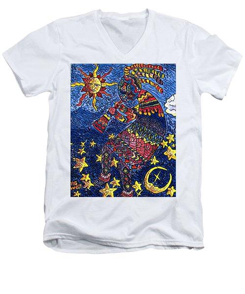 Kokopelli Mosaic Men's V-Neck T-Shirt by Megan Walsh