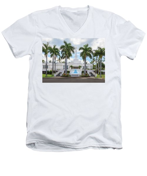 Kona Hawaii Temple-day Men's V-Neck T-Shirt