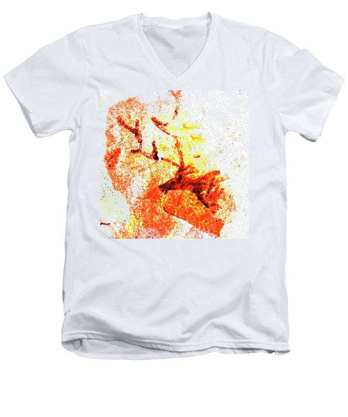 Kondane Deer Men's V-Neck T-Shirt by Asok Mukhopadhyay