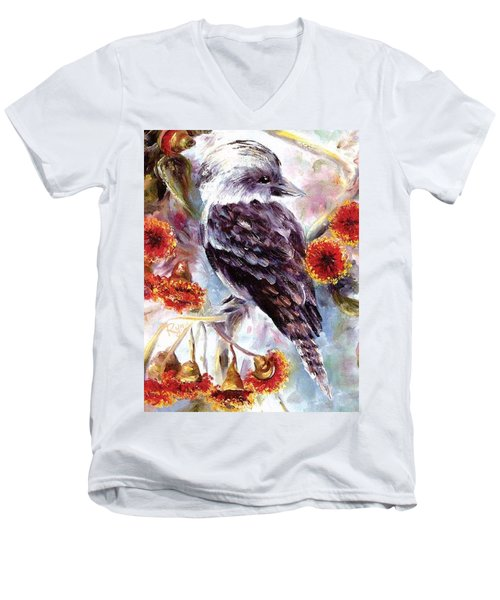 Men's V-Neck T-Shirt featuring the painting Kookaburra In Red Flowering Gum by Ryn Shell