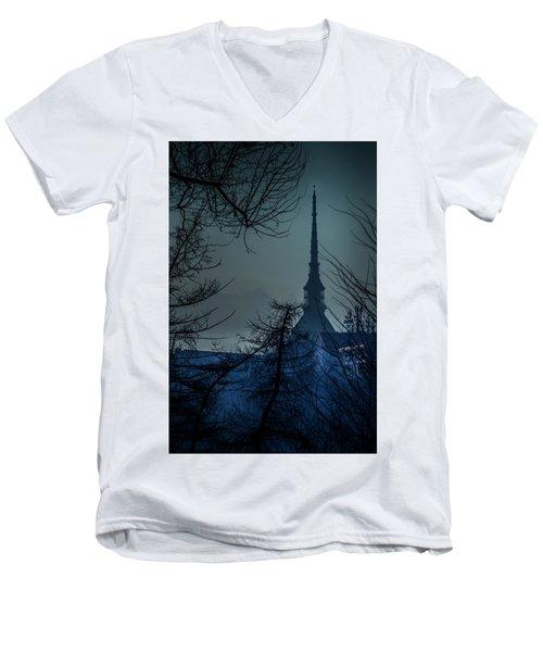 Men's V-Neck T-Shirt featuring the photograph La Mole Antonelliana-blu by Sonny Marcyan