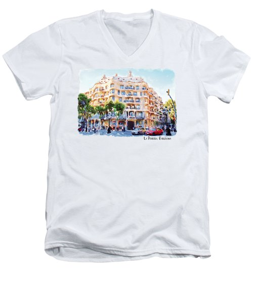 La Pedrera Barcelona Men's V-Neck T-Shirt by Marian Voicu
