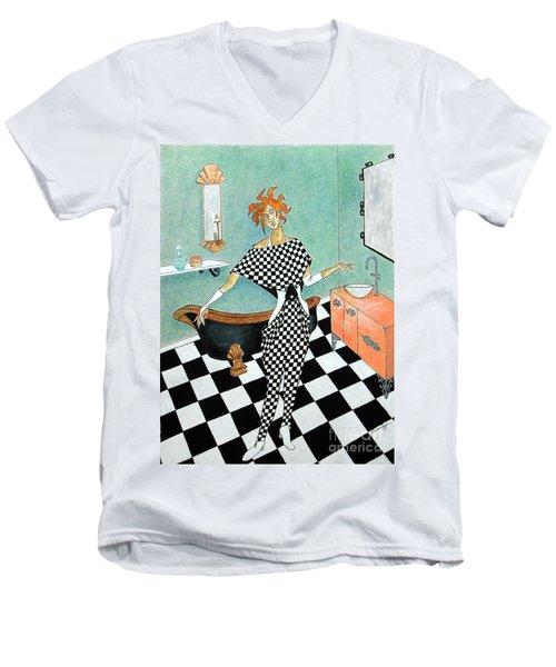 La Toilette -- Woman In Whimsical Art Deco Bathroom Men's V-Neck T-Shirt