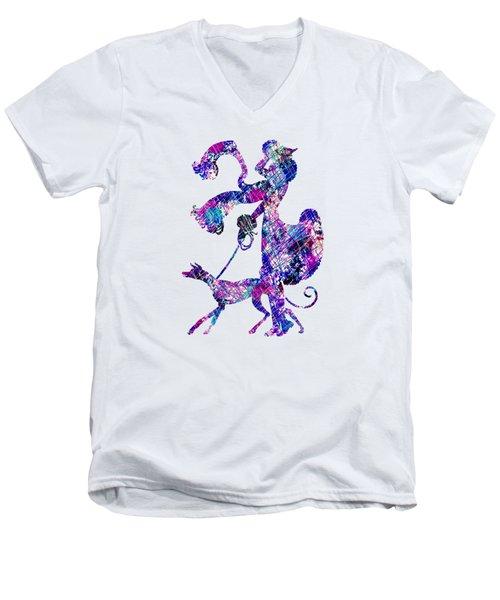 Lady Dog Walker Splashes Transparent Background Men's V-Neck T-Shirt