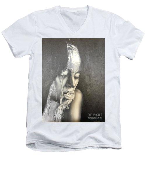 Lady Enjoying A Shower Men's V-Neck T-Shirt