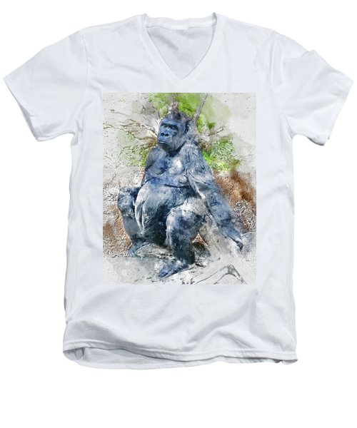 Lady Gorilla Sitting Deep In Thought Men's V-Neck T-Shirt