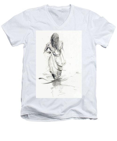 Lady In The Waters Men's V-Neck T-Shirt by Kerryn Madsen-Pietsch