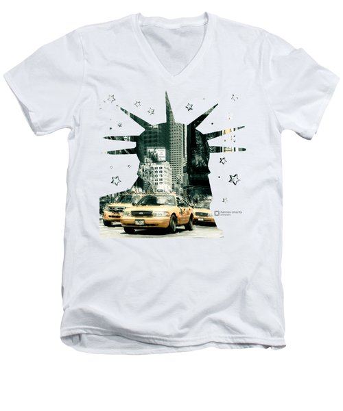 Lady Liberty And The Yellow Cabs Men's V-Neck T-Shirt by Hannes Cmarits
