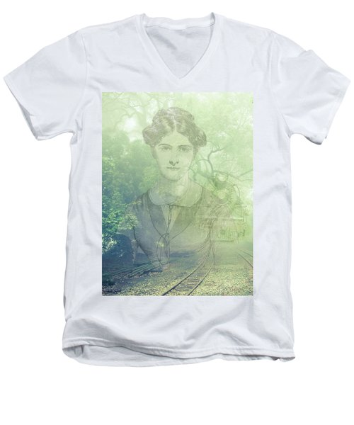 Men's V-Neck T-Shirt featuring the mixed media Lady On The Tracks by Angela Hobbs