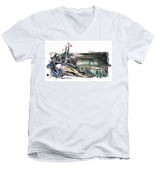 Men's V-Neck T-Shirt featuring the painting Lady Sherbert by Robert Joyner