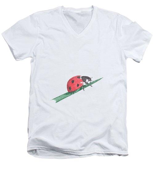 Ladybug Art Print, Ladybug Painting, Garden Nursery Print Art, Red Wall Decor, Garden Wall Art Men's V-Neck T-Shirt