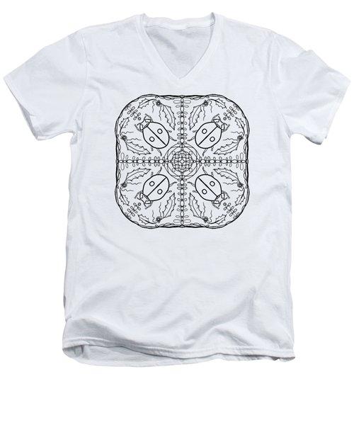 Ladybug Mandala Men's V-Neck T-Shirt by Tanya Provines