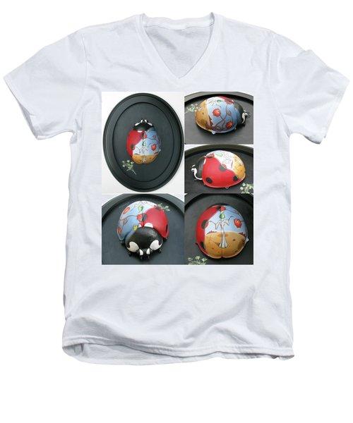 Ladybug On The Half Shell Men's V-Neck T-Shirt