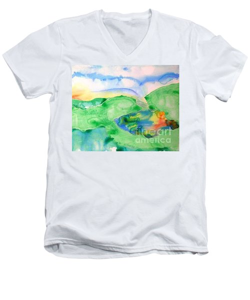 Lake At Sunset Men's V-Neck T-Shirt by Lynda Cookson