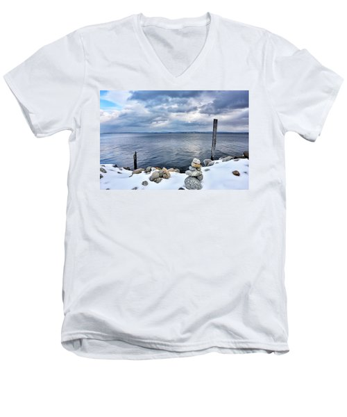 Men's V-Neck T-Shirt featuring the photograph Lake Champlain During Winter by Brendan Reals
