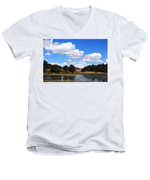 Lake Cuyamac Landscape And Clouds Men's V-Neck T-Shirt