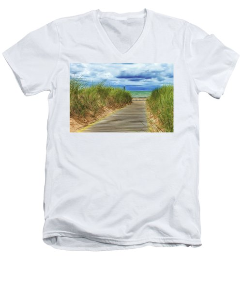 Men's V-Neck T-Shirt featuring the photograph Lake Huron Boardwalk by Bill Gallagher