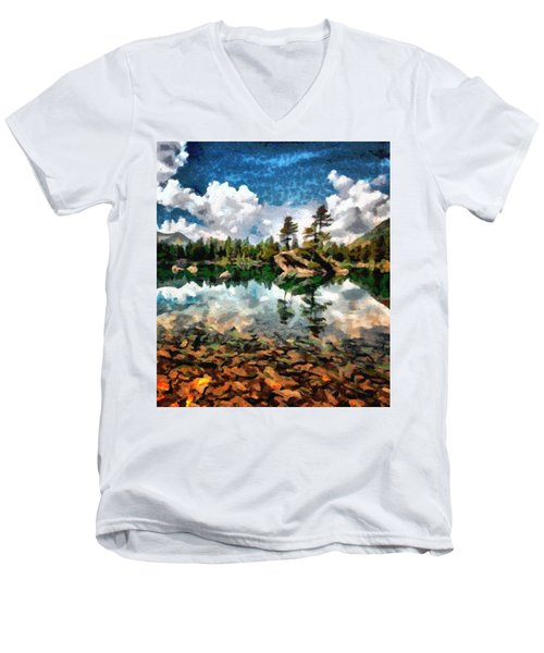 Lake Island View Men's V-Neck T-Shirt by Mario Carini