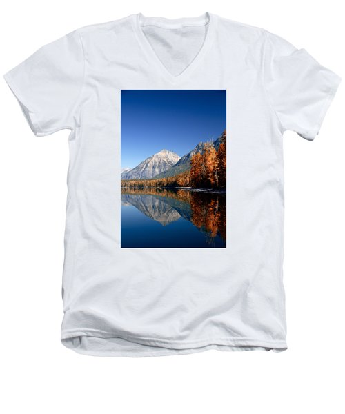 Lake Mcdonald Autumn Men's V-Neck T-Shirt by Lawrence Boothby