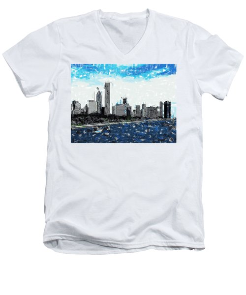Lake Michigan And The Chicago Skyline Men's V-Neck T-Shirt