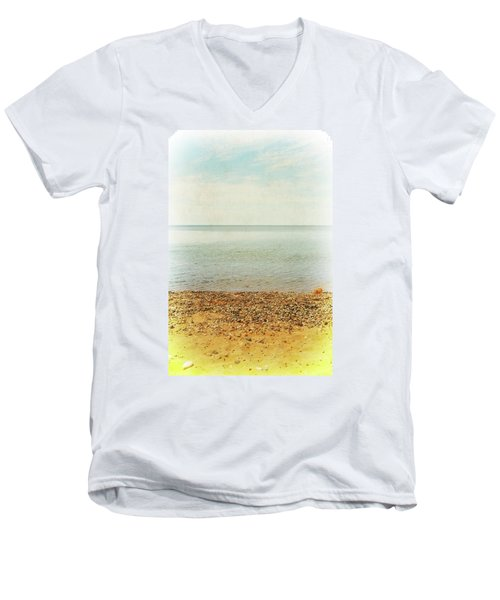 Men's V-Neck T-Shirt featuring the photograph Lake Michigan With Stony Shore by Michelle Calkins