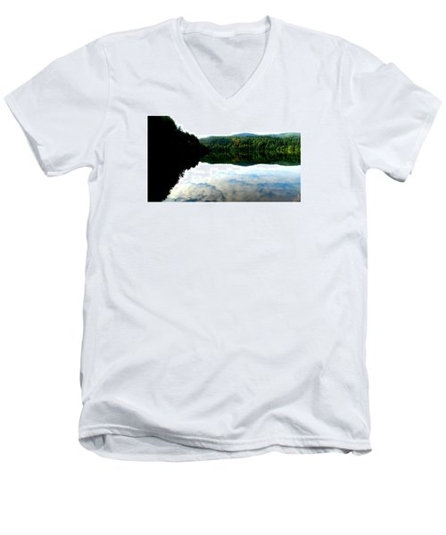 Men's V-Neck T-Shirt featuring the photograph Lake Padden Cloud Reflection by Karen Molenaar Terrell