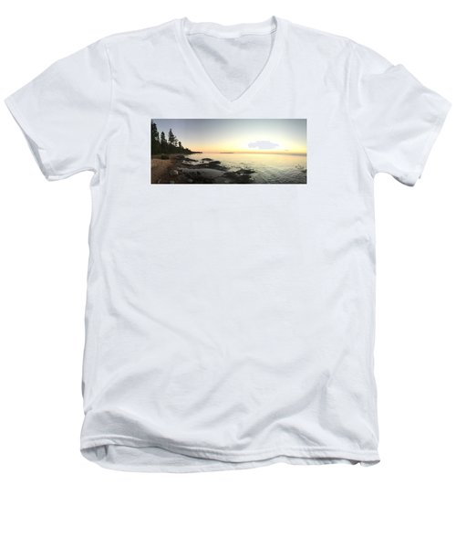 Men's V-Neck T-Shirt featuring the photograph Lake Superior Evening Sky by Paula Brown