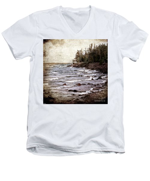 Men's V-Neck T-Shirt featuring the photograph Lake Superior Waves by Phil Perkins