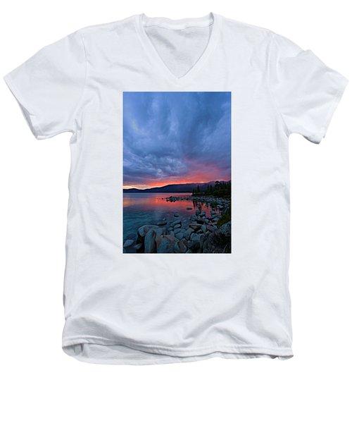Lake Tahoe Sunset Portrait 2 Men's V-Neck T-Shirt by Sean Sarsfield