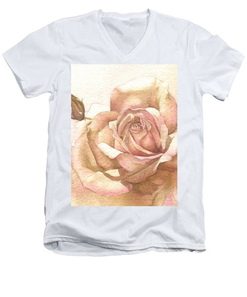 Men's V-Neck T-Shirt featuring the painting Lalique Rose by Sandra Phryce-Jones