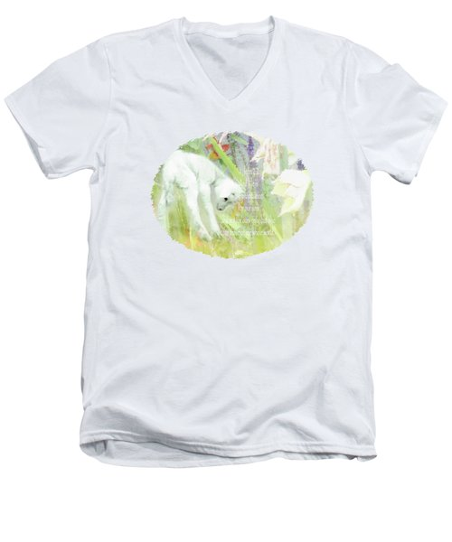 Lamb And Lilies - Verse Men's V-Neck T-Shirt by Anita Faye