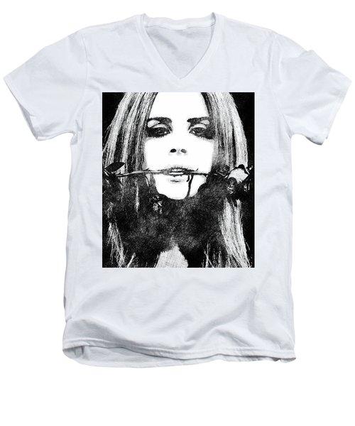 Lana Del Rey Bw Portrait Men's V-Neck T-Shirt by Mihaela Pater