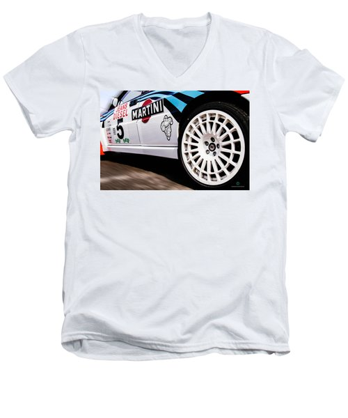 Lancia Delta Hf Integrale Men's V-Neck T-Shirt by Cesare Bargiggia