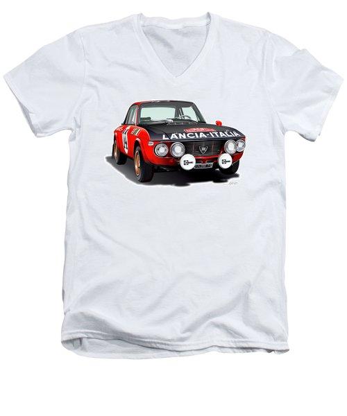 Lancia Fulvia Hf Illustration Men's V-Neck T-Shirt by Alain Jamar