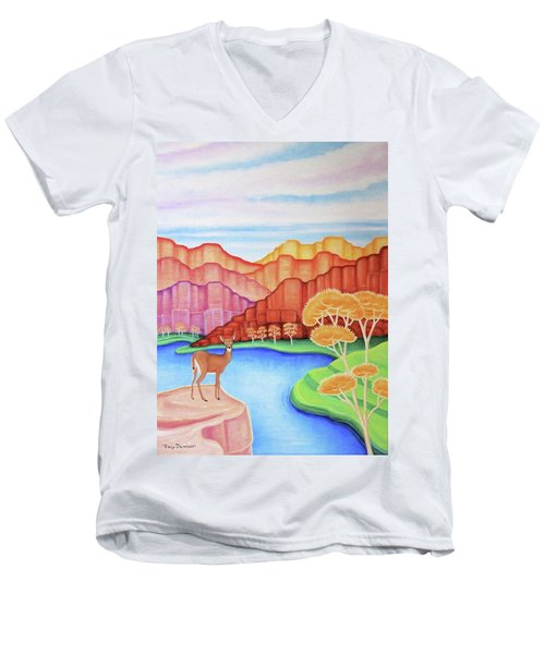 Land Of Enchantment Men's V-Neck T-Shirt by Tracy Dennison