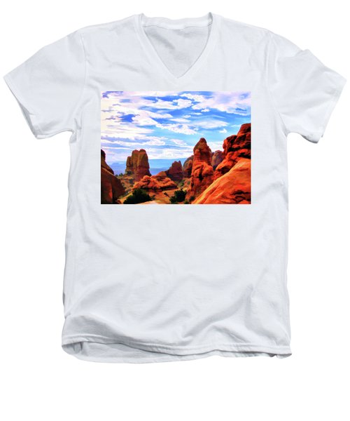 Land Of Moab - Watercolor Men's V-Neck T-Shirt