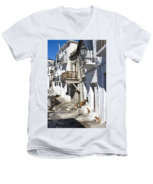 Men's V-Neck T-Shirt featuring the photograph Street In Capileira Puebla Blanca by Heiko Koehrer-Wagner