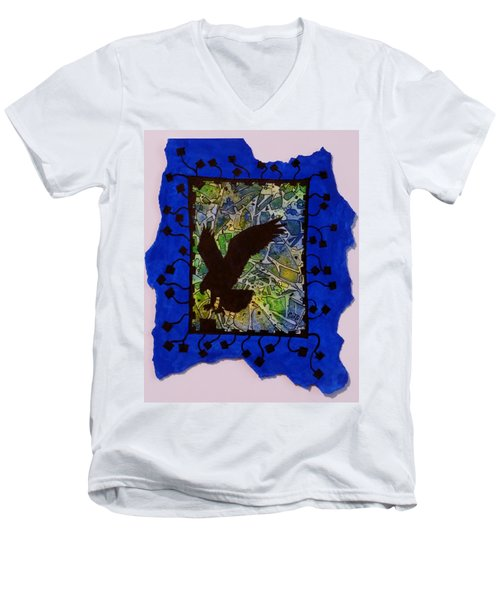 Landing Eagle Silhouette Men's V-Neck T-Shirt
