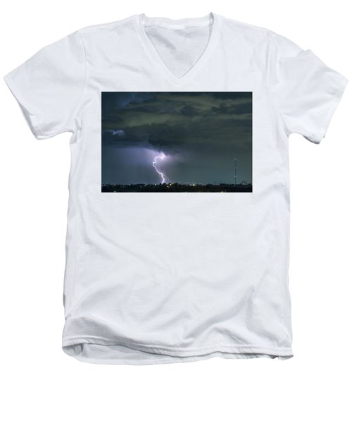 Men's V-Neck T-Shirt featuring the photograph Landing In A Storm by James BO Insogna