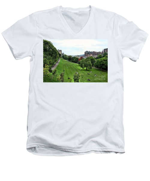 Landscape Edinburgh  Men's V-Neck T-Shirt by Chuck Kuhn