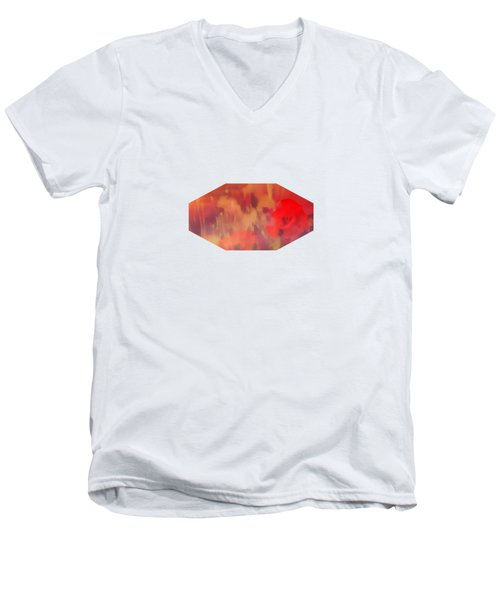 Landscape Of Dreaming Poppies Men's V-Neck T-Shirt