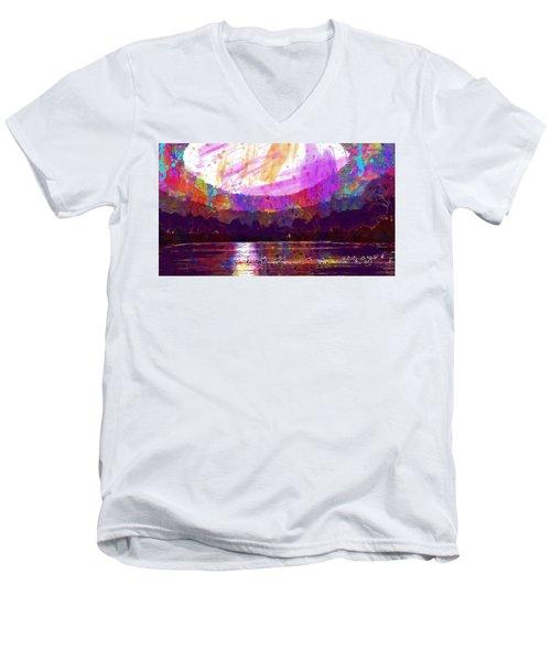 Men's V-Neck T-Shirt featuring the digital art Landscape Winter Fog Sunrise Birds  by PixBreak Art