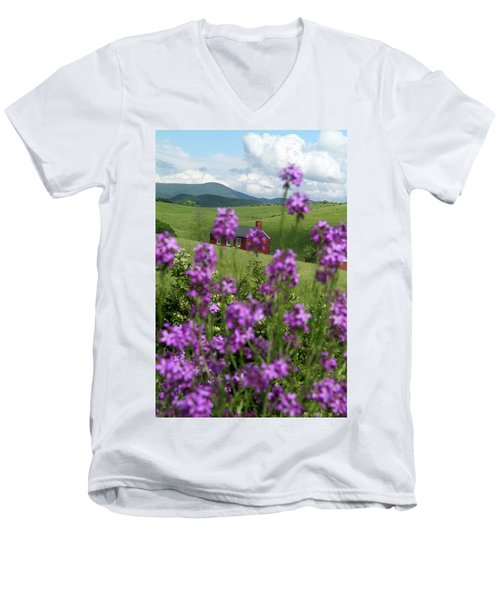 Men's V-Neck T-Shirt featuring the photograph Landscape With Purple Flowers In Virginia by Emanuel Tanjala